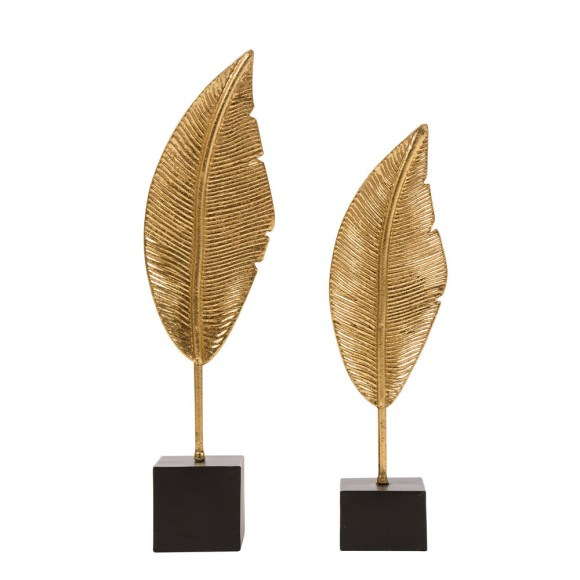 Glitzhome Glam Accent Brass Leaf Table Decor Set of 2