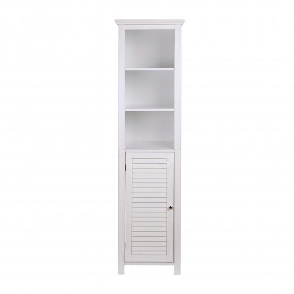 "Glitzhome 65.50""H Wooden Floor Storage Cabinet with 3-Shelf and 1 Shutter Door, White"