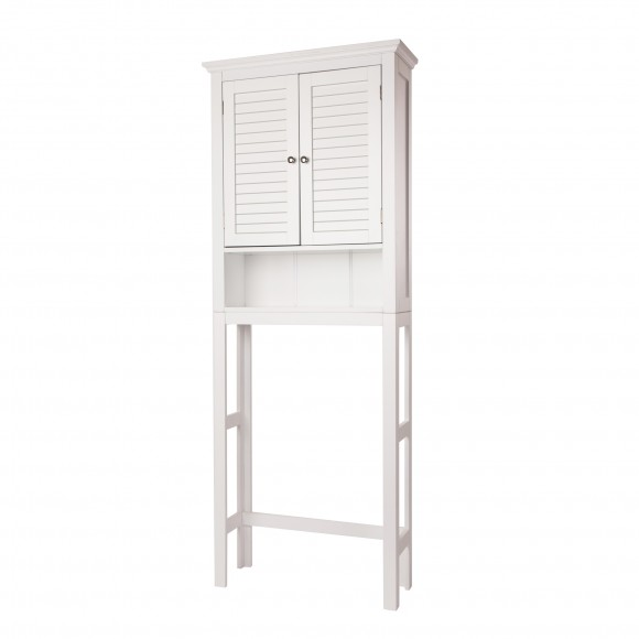 "Glitzhome 68.25""H Wooden Free Standing Storage Cabinet Spacesaver, White"
