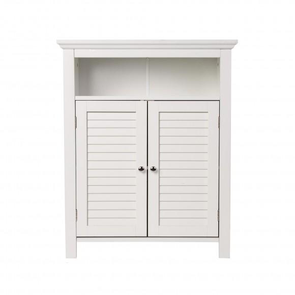 """Glitzhome 32"""" H Wooden Floor Storage Cabinet with  2 Shutter Door, White"""