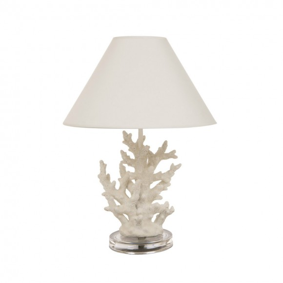 Glitzhome vintage style white coral novelty table lamp with tc shade aloadofball Gallery