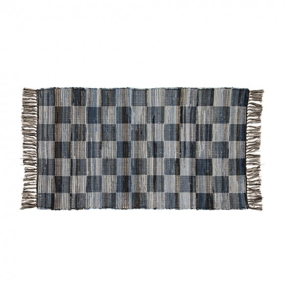 Glitzhome 4.5'Lx2.6'W Hand Woven Denim Chevron Pattern Area Rug