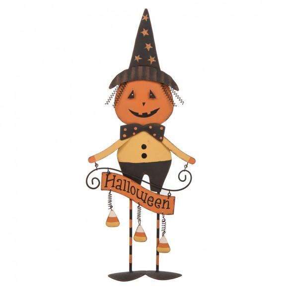 Glitzhome Iron Halloween Pumpkin Man Decor Decorations