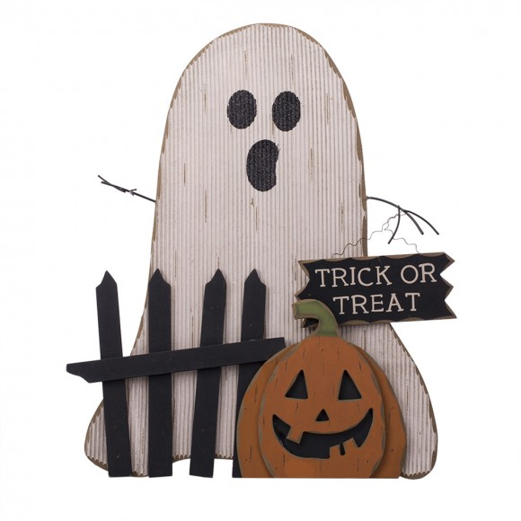 Glitzhome Wooden Halloween Ghost Table Decor