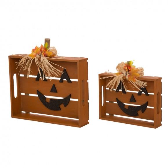 Glitzhome Wooden Halloween Bow Slatted Pumpkin Table Decor Set of 2
