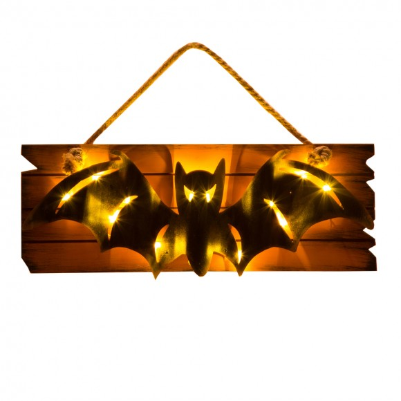 Glitzhome Handcrafted Halloween Wooden/Iron Bat Wall Hanging Decor With Light