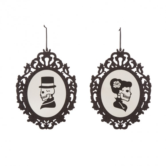 Glitzhome Handcrafted Gothic Skeleton Portraits Wooden Wall Hanging Decor, Set of 2