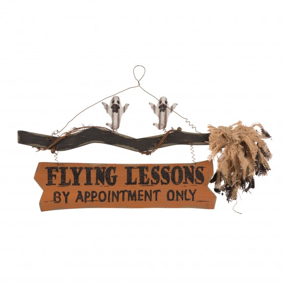 """Glitzhome Handcrafted Halloween Wooden """"Flying Lessons"""" Witch Broom Sign With Ghosts"""