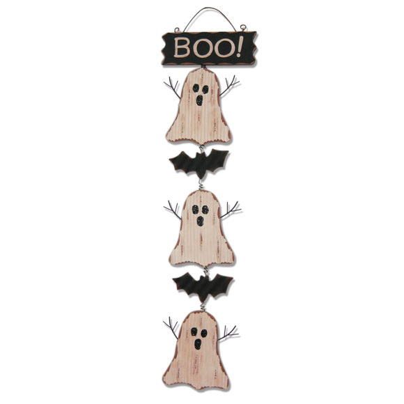 Glitzhome Wooden Halloween Ghosts Cluster Wall Hanging Decor Decorations