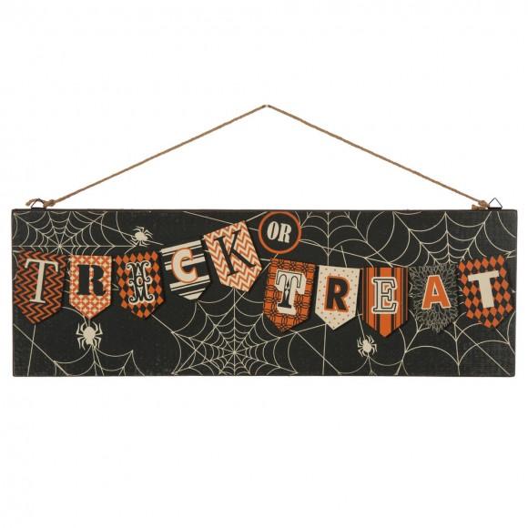 Glitzhome Wooden Halloween Spiderweb Wall Sign Decorations