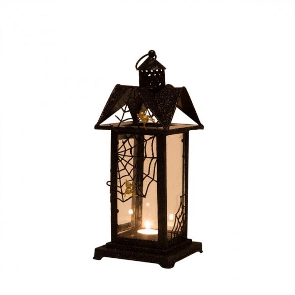 Glitzhome Halloween Iron/Glass Spider Hanging Lantern