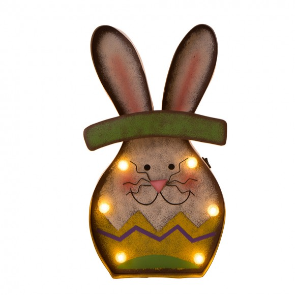 Glitzhome Marquee LED Lighted Bunny Sign Easter Wall Decor Battery Operated Green