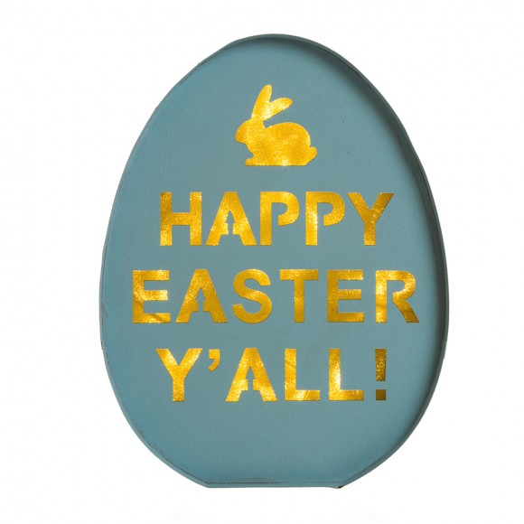 Glitzhome LED Lighted Iron Egg Sign Easter Wall Decor Battery Operated Blue