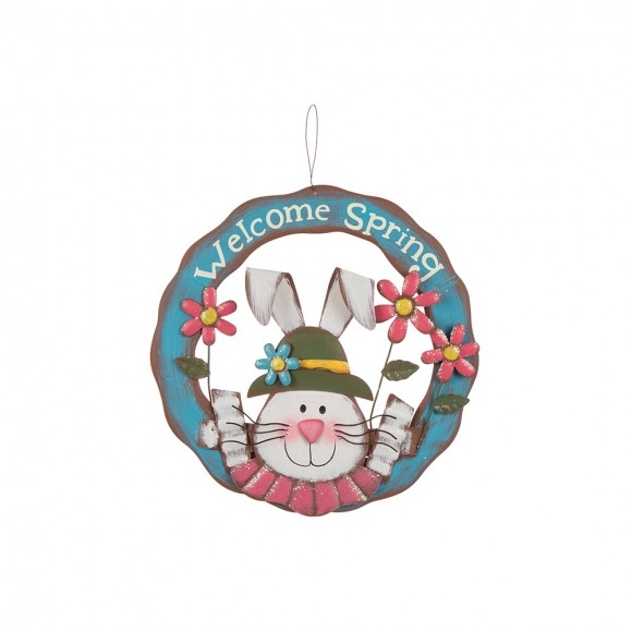 """Glitzhome Handcrafted """"Welcome Spring"""" Iron Bunny Wreath"""