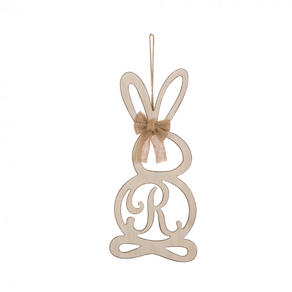 """Glitzhome Handcrafted Wooden Monogram """"R"""" Bunny Wall Hanging Sign"""