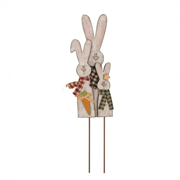 Glitzhome Handcrafted Wooden Bunny Family Garden Yard Stake
