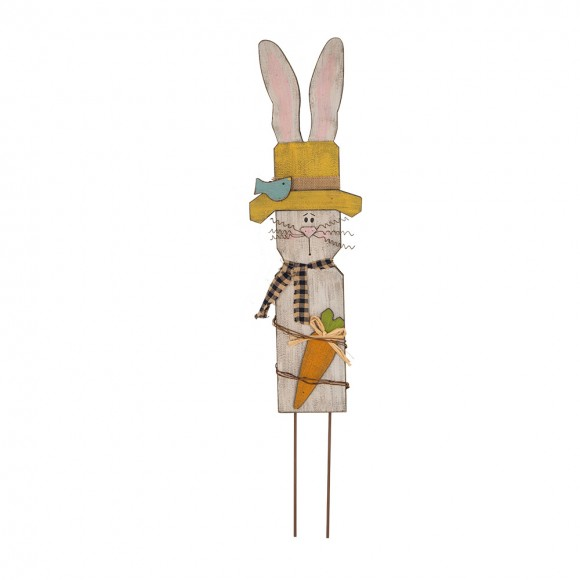 Glitzhome Handcrafted Wooden Bunny With Hat Garden Yard Stake