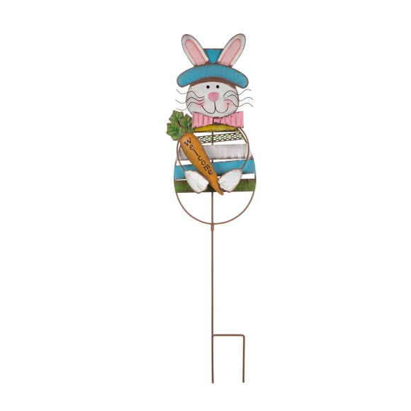 Glitzhome Handcrafted Textured Bunny Garden Yard Stake