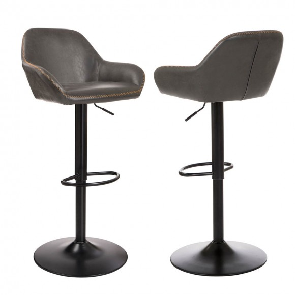 Glitzhome Mid-Century Adjustable Swivel 2 Pcs Bar Stool With Back Classis Kitchen Chairs