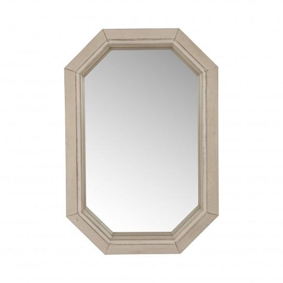 "Glitzhome Makeup Mirror 34.25""H Farmhouse Washed White Octagon Wood Mirror"