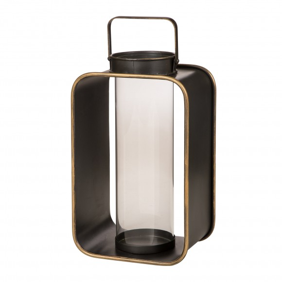 "Glitzhome Contemporary Industrial Style Metal Hanging Decorative Candle Holder Lantern 19.29""H"