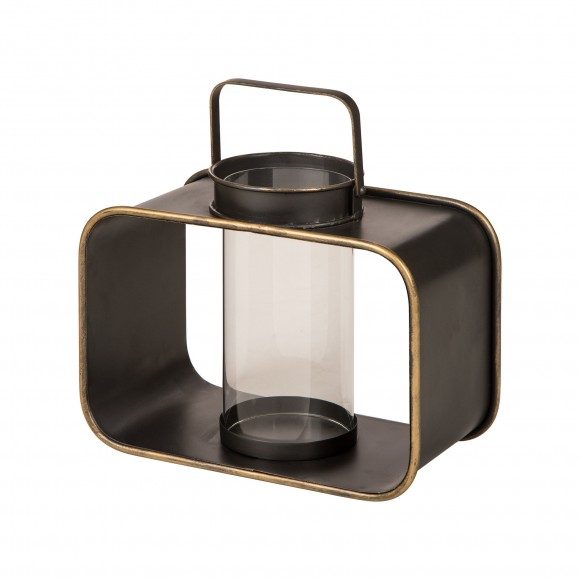 """Glitzhome Contemporary Metal Lantern with Glass Hanging Decorative Candle Holder 13"""" H"""