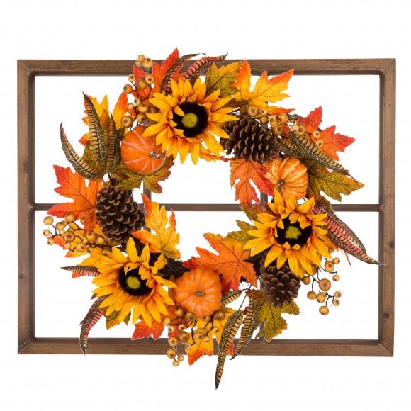 Glitzhome Wooden Window Frame w/Sunflower Wreath