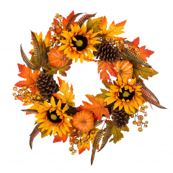 "Glitzhome 24""D Yellow/Orange Sunflower Wreath"