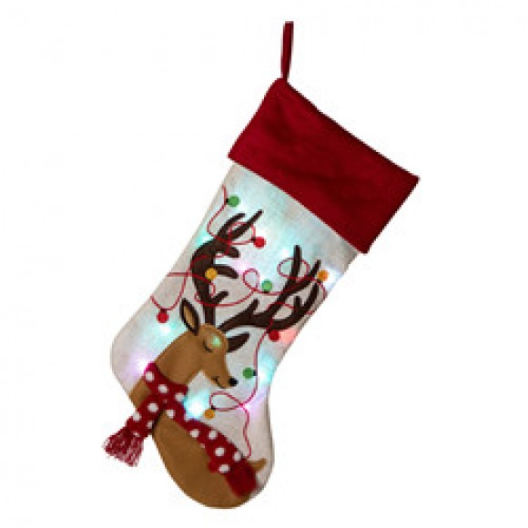 Glitzhome 21''L LED Embroidered Linen Christmas Stocking - Reindeer