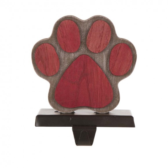 """Glitzhome 6.50""""H Wooden Metal Paw Stocking Holder"""