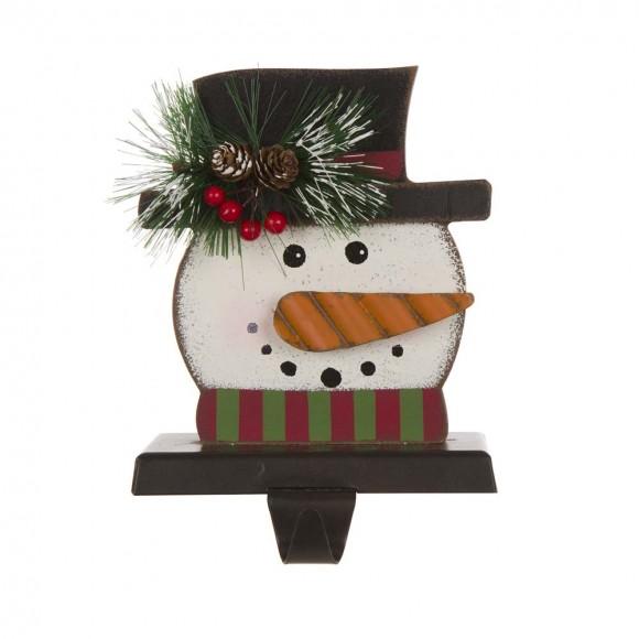 "Glitzhome 6.30""H Wooden Metal Snowman Head Stocking Holder"