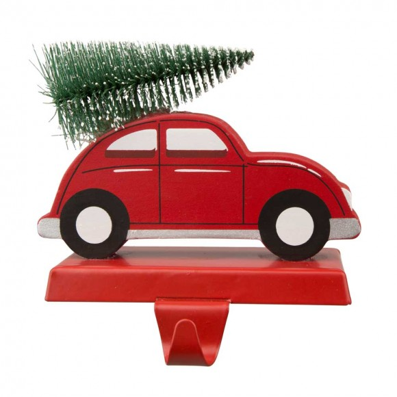 """Glitzhome 5.31""""H Wooden/Metal Red Car Stocking Holder"""
