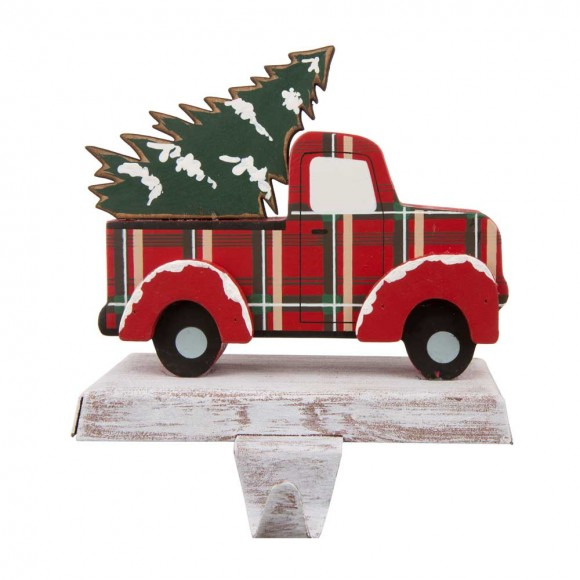 """Glitzhome 6.12""""H Wooden/Metal Red Truck Stocking Holder"""
