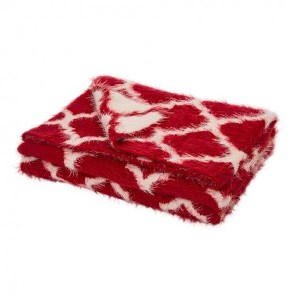 """Glitzhome 60""""L*50""""W Reversible Knitted Nylon Eyelash Yarn Red/White Throw Blanket 1250g"""