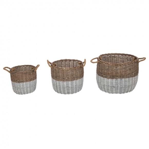 Glitzhome Set of 3pcs Natural/White Round Willow Baskets