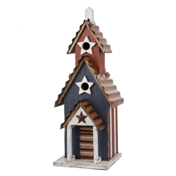 "Glitzhome 24.41""H Oversized Wooden/Rustic Metal Patriotic Birdhouse"