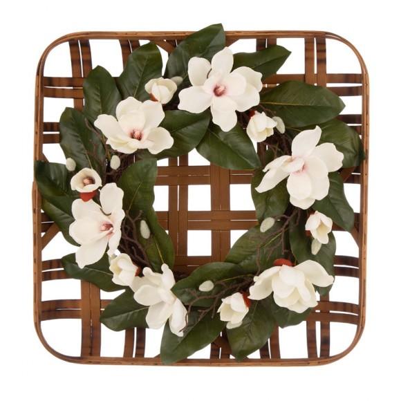 "Glitzhome 24""D Magnolia Wreath with 24""L Bamboo Basket"