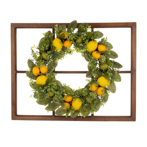 "Glitzhome 28""H Wooden Window Frame with 22""D Greenery Lemon Wreath"