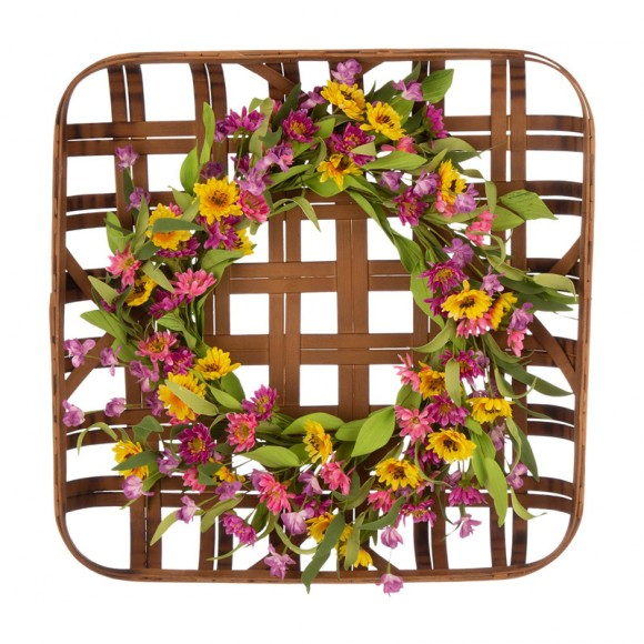 """Glitzhome 24""""D Artificial Chrysanthemum Wreath with 24""""L Bamboo Basket"""