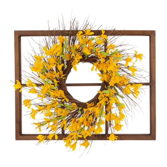 "Glitzhome 28""H Wooden Window Frame with 24""D Artificial Winter Jasmine Wreath"