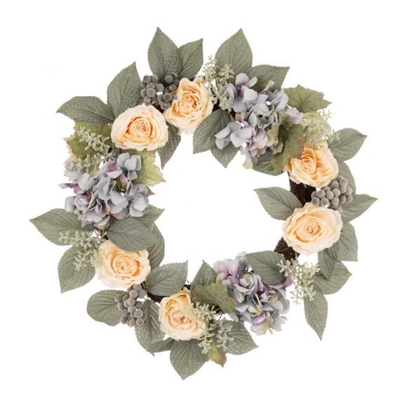 "Glitzhome 22""D Artificial Hydrangea Rose Wreath"