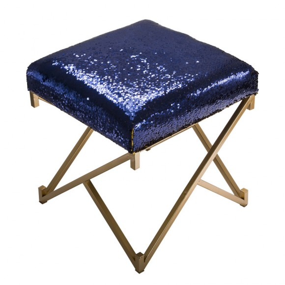 """Glitzhome 17.30""""H Sapphire Blue and Gold Shimmering Sequin Stool with Metal Gold legs"""