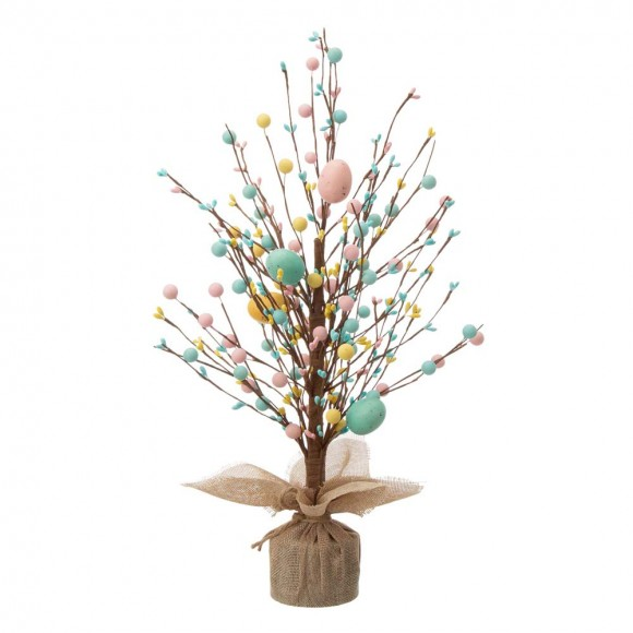 """Glitzhome 18""""H Easter Table Tree with Multicolor Easter Eggs"""