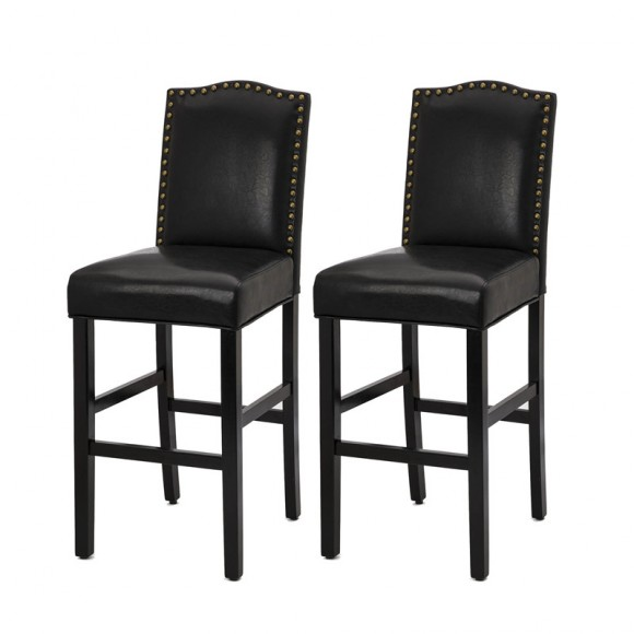 """Glitzhome 45.00""""H Black Leatherette High-Back Barchair with Studded Decoration, Set of 2"""