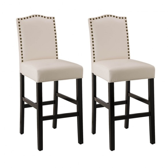 """Glitzhome 45""""H Cream White Leatherette Barchair with Studded decoration back and black solid rubberwood legs, Set of Two"""