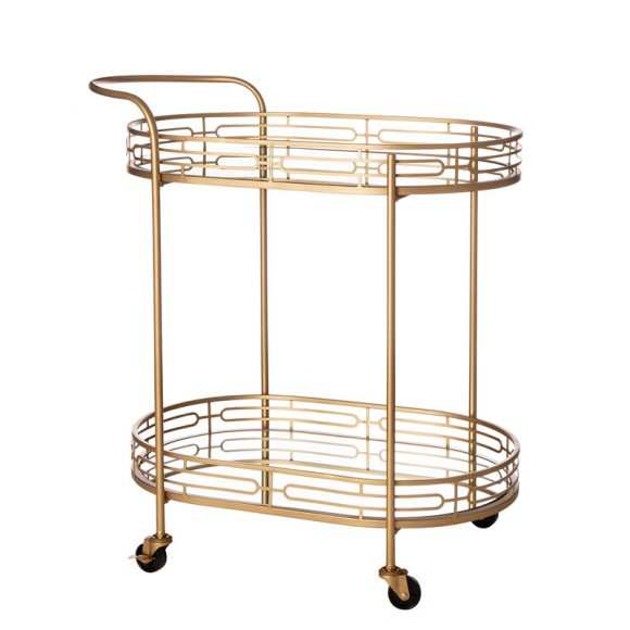 """Glitzhome 30.75""""H 2-Tier Gold Deluxe Metal Oval Mirrored Bar Cart"""