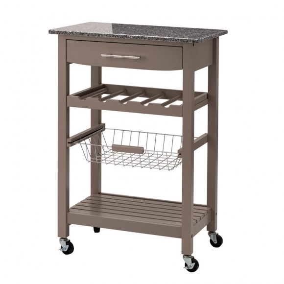 """Glitzhome 33.90""""H Warm Gray Rolling Kitchen Island with Marble Top"""