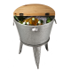 "Glitzhome 26.29""H Galvanized Beverage Tub with Metal Stand or Accent Table with Firwood Lid"