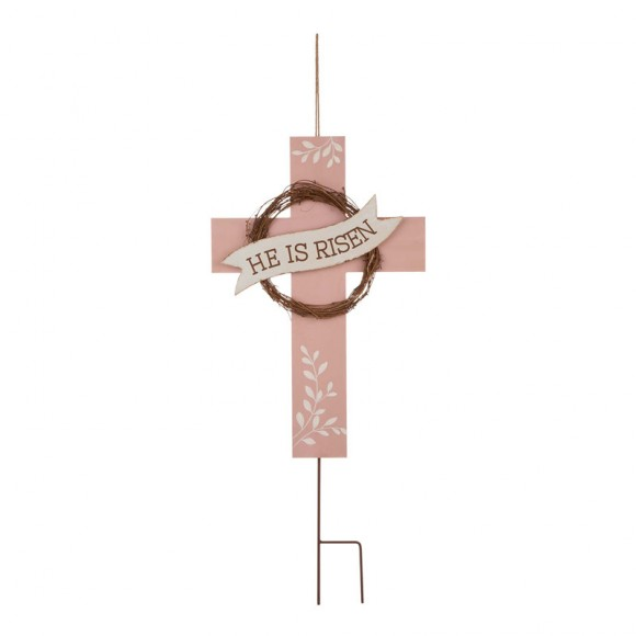 """Glitzhome 32""""H Easter Wooden/Metal Cross Yard Stake or Wall Decor (KD, Two Function)"""