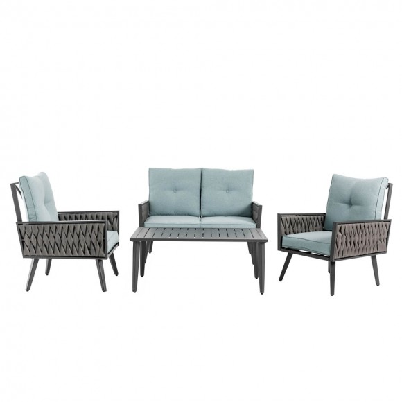 Glitzhome 4 Piece Outdoor Patio All-Weather Wicker Sectional
